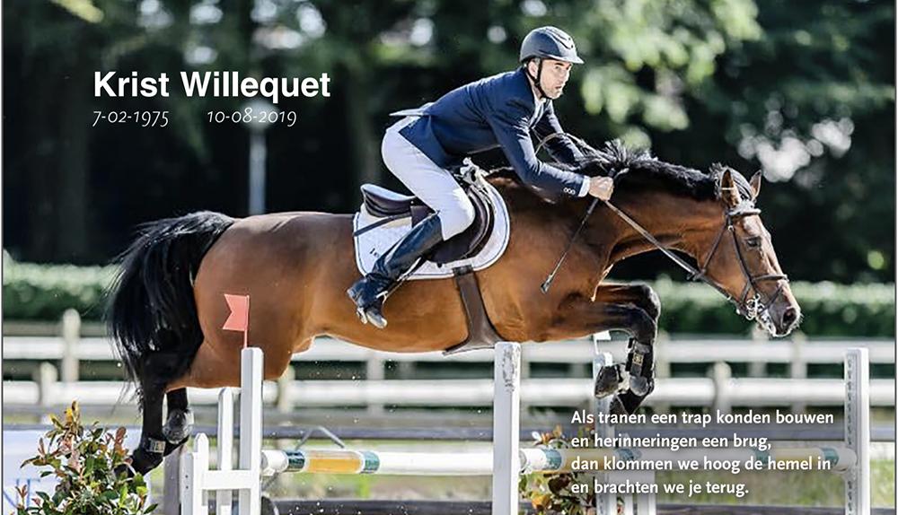 Paardensport neemt afscheid van Krist Willequet
