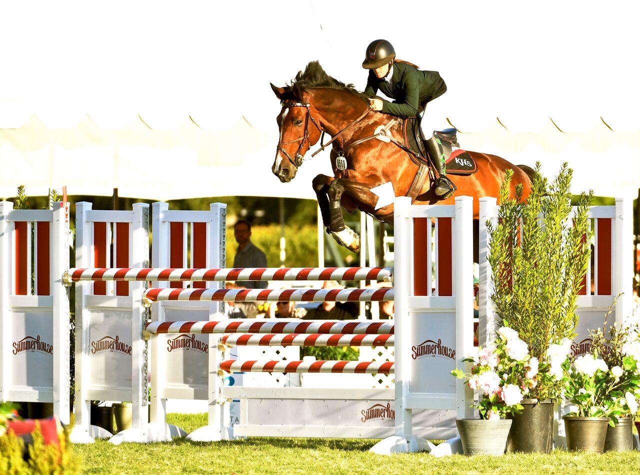 Menlo Charity Horse Show PR: Kristin Hardin and Firestone S Set The Field On Fire In The $40,000 Stephen Silver Grand Prix