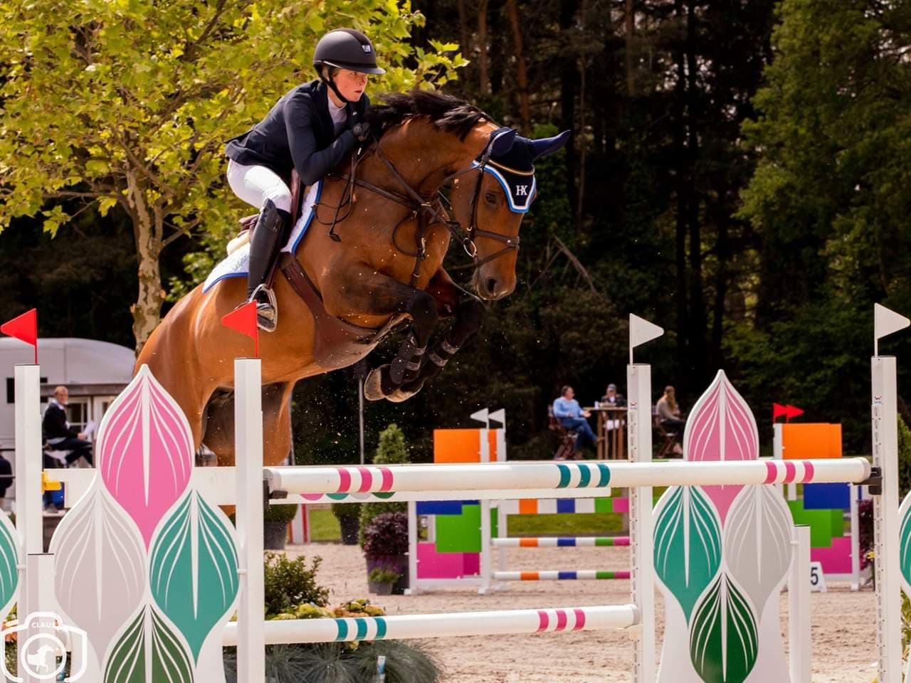 Germanys Sophie Hinner pilots Vittorio (Valentino DDH) to first place in Grand Prix of Sentower Park
