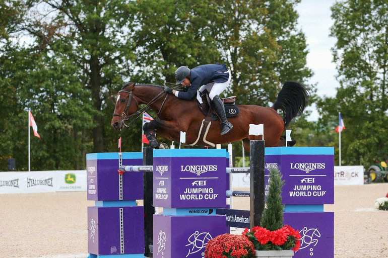 Andy Kocher flies to the win in the 1.50m Welcome class at Split Rock Jumping Tour
