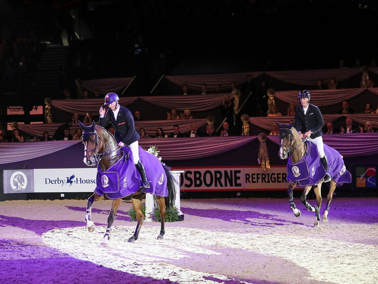 A two-way tie in the Grandstand Challenge Cup at Horse of the Year show