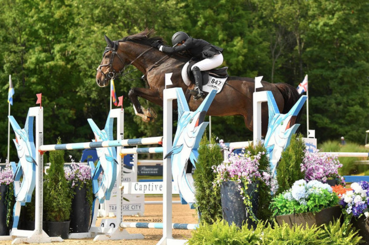 Margie Engle and Dicas are unequalled to win $137,000 Four G Surfaces Grand Prix CSI3* at Great Lakes Equestrian Festival